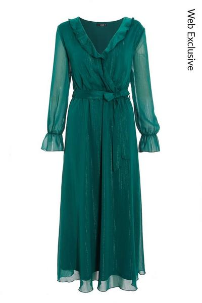 Teal Chiffon Wrap Midaxi Dress